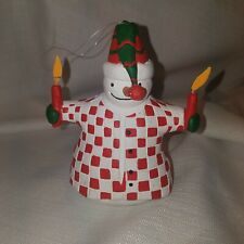 Snowman Christmas Tree Ornament Santa Hat Candles Red + White Checkered Coat EUC