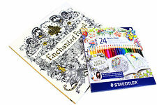 Enchanted Forest An Inky Treasure Hunt Colouring Book with 24 Staedtle Pencils