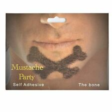Bone Shaped Fake Moustache/Mustache Self Adhesive Fancy Dress Accessories