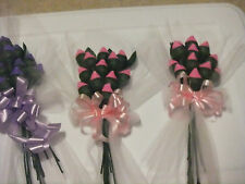 HERSHEY KISS CHOCOLATE ROSES 12 rose &  BOW, U PICK COLOR, GIFT FAVORS FREE SHIP
