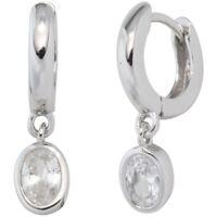 Paar Ohrringe Creolen mit Zirkonia weiß oval, 925 Silber Damen Ohrschmuck