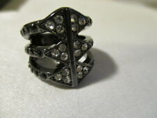 """AVON """"Pave`Desert Stacked Ring"""" The Look of Hematite & Goldtone w/Pave`Accents 6"""
