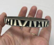 CHICO's Bangle Bracelet Black White Geometric Metal Enamel