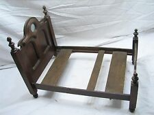 Antique Salesman Sample Walnut Wooden Doll Bed Frame w/Mirror Wood Toy