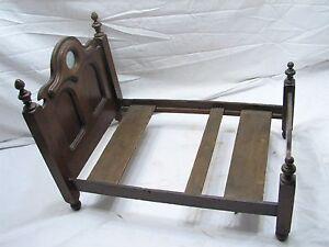 Antique Salesman Sample Walnut Wooden Doll Bed Frame w/Mirror Wood Toy
