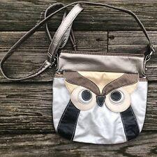Metallic Owl Cross Body Bag Purse Handbag Adjustable Strap Zippered