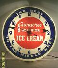1940's~FAIRACRES SUPERIOR ICE CREAM~DUALITE~BUBBLE GLASS ADVERTISING CLOCK SIGN~