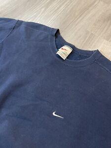 Vintage Nike Crewneck Sweatshirt White Tag XL Navy 90s Made In USA Travis Scott