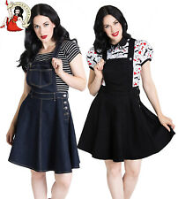 HELL BUNNY DAKOTA MINI DRESS rockabilly DENIM navy blue black PINAFORE XS-4XL
