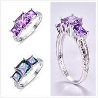 New Rainbow Topaz & Amethyst Three Gemstone Silver Engagement Ring Size 6 7 8 9