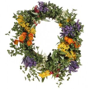Mixed Floral Wreath With Spring Colors- 21 Inch New From RAZ Imports