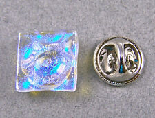 TIE TACK DICHROIC Fused GLASS Flair Pin Clear Moonstone Blue Formal Wear Bubbles