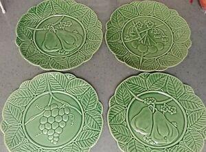 """4 Green 9.5"""" Studio Nova Plates Portugal Bordallo Pinheiro Pattern ceramic"""