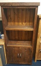 SOLID WOOD RUSTIC CHUNKY WOODEN  BOOKCASE WITH CUPBOARD MADE TO MEASURE