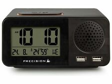 Precision Radio Controlled LCD Calendar Temperature USB Twin Alarm Clock AP055