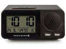 Precision Radio Controllato LCD Calendario Temperatura Sveglia Doppia USB AP055
