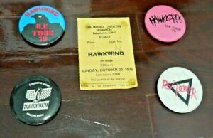 Hawkwind/Hawklords Vintage 1978 & 1979 UK Concert Badges & 1978 Ticket