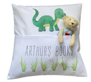 "Personalised Dinosaur ~ 16"" white cushion cover Book Pocket nursery gift"