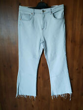 "RRP £55 BDG URBAN OUTFITTERS KICK FLARE JEANS Light Blue Relaxed Crop 32"" Waist"