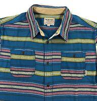 Burton MB Fairfax Woven Flannel Shirt Mens XL Midnight Essex Stripe Long Sleeve