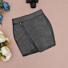 Womens Asymmetric Front Zip PU Leather High Waist A-Line Mini Pencil Short Skirt