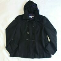 Calvin Klein Womens Black Short Double Breasted Peacoat Jacket Removable Hood 16
