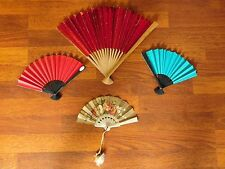 4 Vintage Paper & Foil Chinese Hand Fans