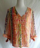 Colorful Coldwater Creek L 100% Silk Artsy Blouse 3/4 Sleeve Spring Boho Shirt