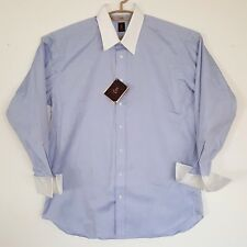ROBERT TALBOTT Bespoke Sky Blue Cotton Linen Dress Shirt NWT