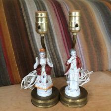 Vintage Lamp Pair Male & Female 17th / 18th Century Dress Metal Bases & Stems