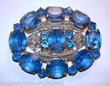 Vintage Czech silver-tone metal & blue glass brooch, 1930s