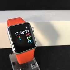 Apple Watch (iWatch) 38mm Silver Aluminium Orange Sport Band *FREE DELIVERY*