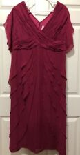 Roamans Womens Size 14W Dress Formal Special Occasion Gown Dark Pink Ruffles