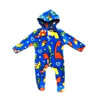 Baby Boys Girls Dinosaur Print Fleece Pajamas Warm All In One Babygrow Suit 0-24