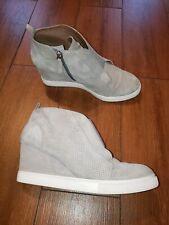 Linea Paolo Felicia Gray Suede Wedge Sneaker Women's Size 8.5M