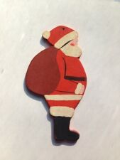 Vintage Hand Painted Wooden Santa Claus Christmas Tree Ornament