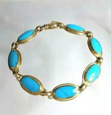 Turquoise Bracelet  9ct Hallmarked Gold Superb Quality Kingman Mine Arizona