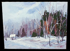 FERNAND LABELLE WINTER TREES LANDSCAPE IMPASTO OIL PAINTING LISTED CANADIAN ART