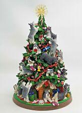 "Danbury Mint Miniature Schnauzer Dog Lighted Christmas Tree Rare Works 13"" Video"