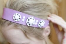 JUICY COUTURE Headband GEM & LEATHER Floral Jeweled ELASTIC Back LILAC Free Ship