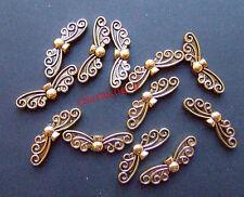 15pz  perline metallo spacer separatori  Farfalla 22x6mm colore oro antico
