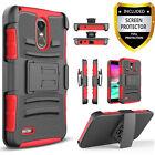 For LG Stylo 3 / 2 V Plus / Belt Clip Phone Case +Tempered Glass Protector
