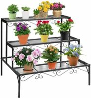 3-Tier Metal Plant Stand Flower Pot Holder, Plant Display Rack Shelf Stair Style