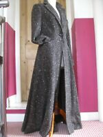 Ladies M&S PER UNA brown wool tweed long COAT UK 10 8 victorian riding fit flare