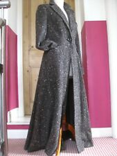 Ladies M&S PER UNA brown wool tweed long COAT UK 10 8 victorian riding fit flare