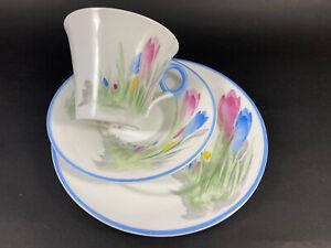 Art Deco Shelley Regent Crocus Trio Tea Cup/Saucer/Tea Plate .