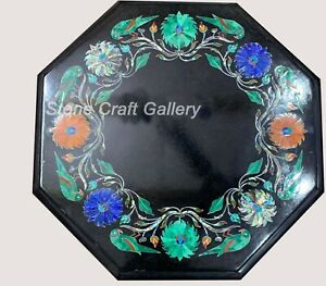 """15"""" Marble corner side Table Top Semi Precious multi Stones Inlay decor"""
