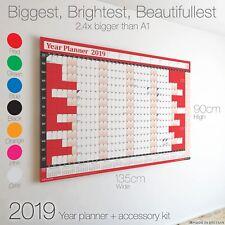 Gráfico de pared Planificador de 2019 años + calendario + Vacaciones ✔ ✔ ✔ ✔ trabajo de oficina hogar más grande en eBay