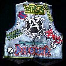 Punk Leather Jacket Waistcoat Painted Vest Vtg Men's Biker stud closure M/L 40