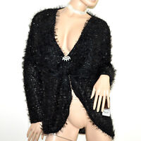 CARDIGAN NOIR femme pull over manche longue maillot +broche made en Italy G61